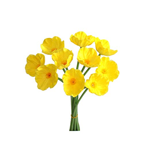 Mandy's Yellow Poppy Artificial Flower 10pcs PU for Wedding Home & Kitchen 12.5