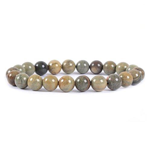 Silver Leaf Jasper Gemstone (Natural Silver Leaf Jasper Gemstone 8mm Round Beads Stretch Bracelet 7