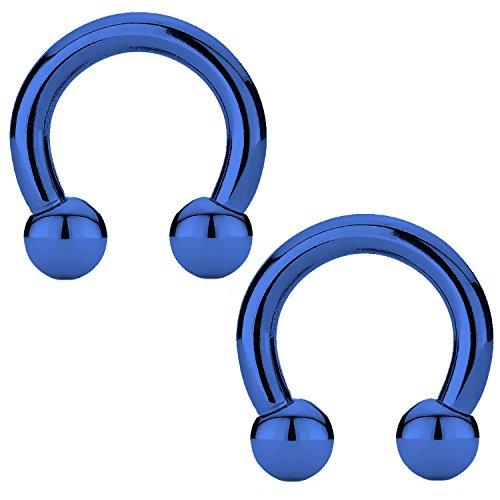BodyJ4You 2PCS Horseshoe Circular Barbell Blue Steel 10G CBR 12mm Nipple Ear Lobe Body Piercing -