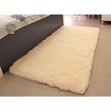 ACTCUT Super Soft Solid Carpet/Floor Rug/Living Room Carpet/Area Rug Size: 2.5 Feet X 5 Feet (Yellow)