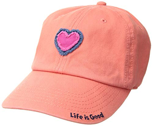 Life is Good Unisex Tattered Chill Cap Heart, Fresh Coral, One Size