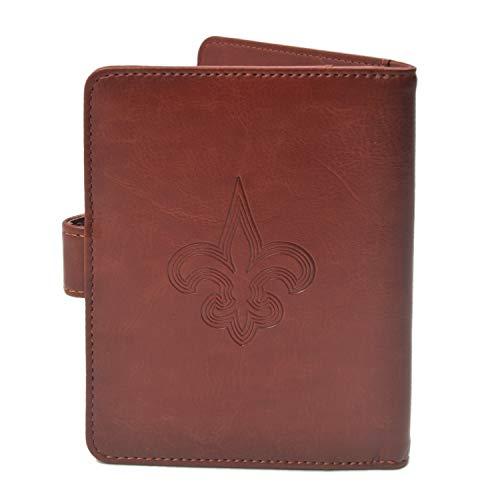 CHNNFC NFL Premium Brown Leather Laser Carving Travel Wallet (New Orleans Saints)