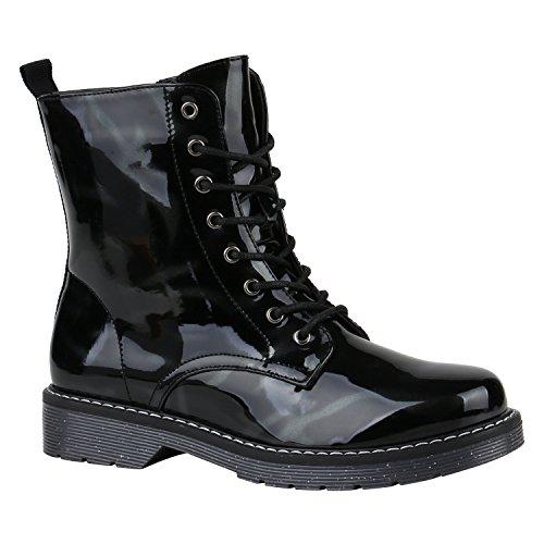 Damen Stiefeletten Schnürstiefeletten Lack Plateau Boots Profilsohle Leder-Optik Worker Boots Zipper Blumen Übergrößen Flandell Schwarz Lack