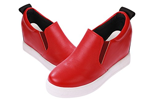 VECJUNIA Womens Letter Platform Elastic Chunky Concealed Wedge Loafer High Top Canvas Casual shoes Red sNyeZvg
