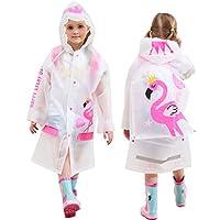 Kids Rain Jackets Hooded Waterproof Coat Girls Poncho Reusable Rainwear, Flamingo