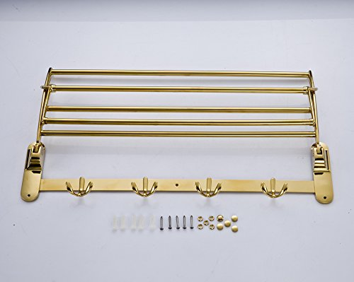Gold Finish Bathroom Folding Towel Rack Wall Mounted