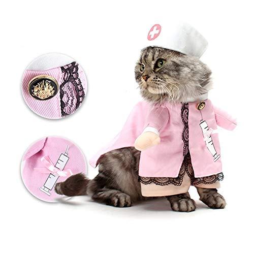HORHIN Pet Dog Cat Halloween Costume Clothes,Cosplay Pink Nurse Clothes with Hat,Dog Clothes Cat Funny Apperal Outfit Uniform for Halloween Party Jacket Xmas ()