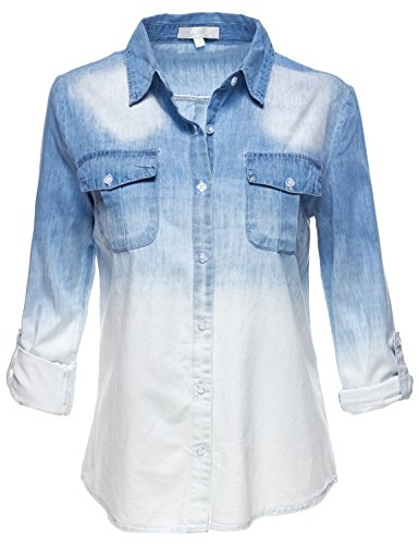 Roll Up Sleeve Denim White Gradation Shirt Tops 061-Denim US (French Square Leg)