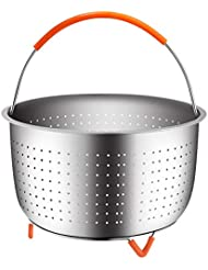 The Original Sturdy Steamer Basket for 6 or 8 Quart Pressure Cooker, 304 Stainless Steel Steamer Insert with Silicone Covered Handle