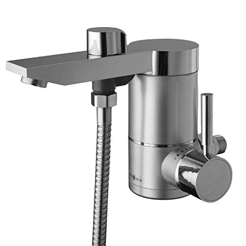 Side water inlet electric shower kitchen tankless instant electric heater sink hot tap faucet mixer hot and cold water (Color : Silver)