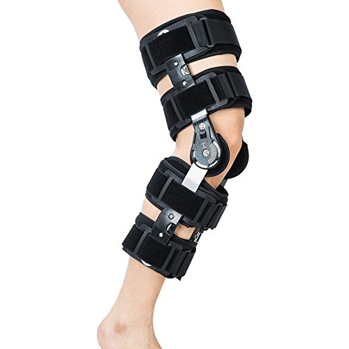 Hinged ROM Knee Brace, Adjustable Patella Injury Stabilization Strap - Post Operative Immobilization Knee Support Orthosis – Wrap around Full Leg (Full Post)