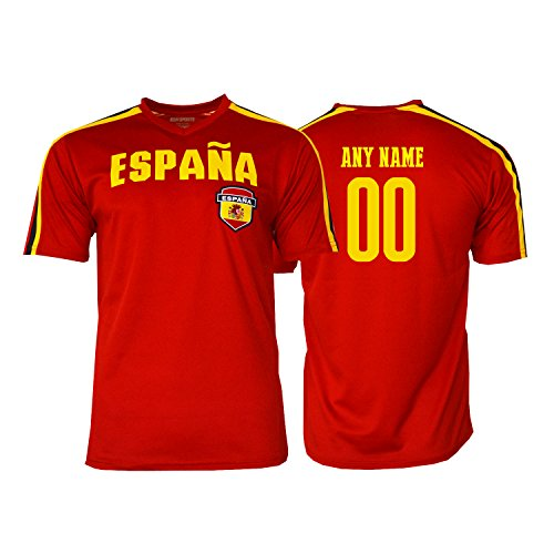 cccec4924 Pana Spain Soccer Jersey Flag España Youth Kids Training World Cup Custom  Name and Number (Red, YS)