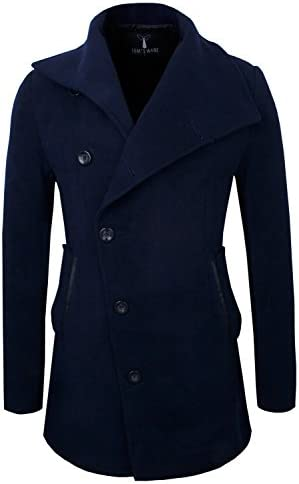Tom's Ware Mens Slim Fit Unbalanced Single Breasted Button Wool Pea Coat