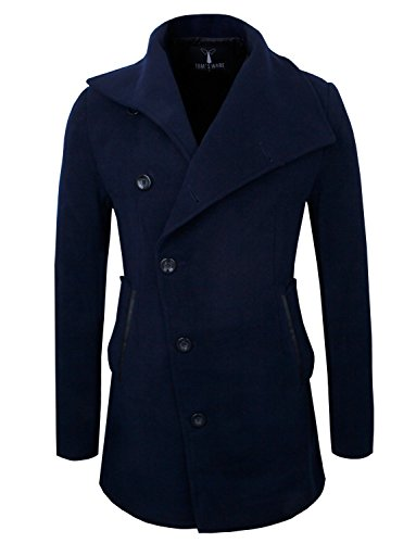 Tom's Ware Mens Slim Fit Unbalanced Single Breasted Button Wool Pea Coat TWNFD077J-NAVY-US (Us Navy Style Mens Peacoat)