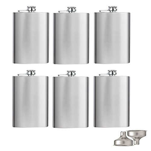 Tebery 8 oz Stainless Steel Hip Flask & Funnel Set, Set of 6 (Stainless Flask Funnel)