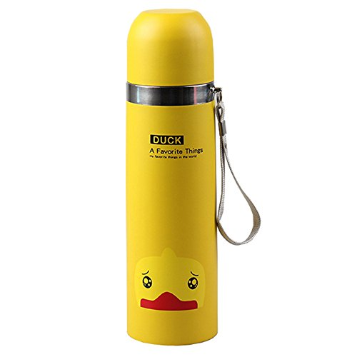 BreaDeep Super Cute Animals Stainless Steel Water Bottle Vacuum Insulated Flask Travel Mug with Handle Strap,17-Ounce/500 ml (Yellow + Duck)