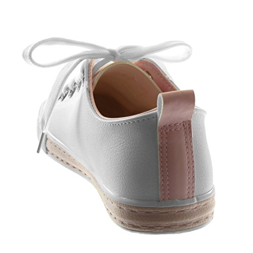 Angkorly Damen Schuhe Sneaker - Tennis - Strass - genarbtem - Bicolor Flache Ferse 1.5 cm Hellrosa