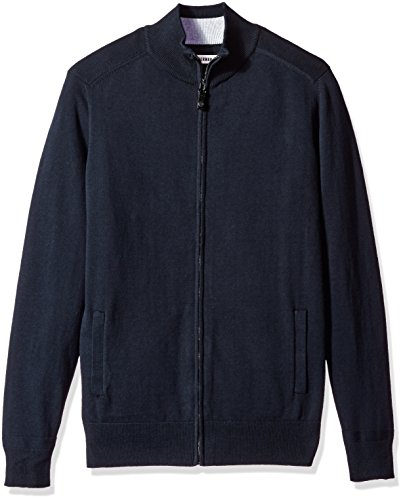 Ben Sherman Men's Full Zip Sweater, Navy Blazer, (Ben Sherman Cotton Sweater)