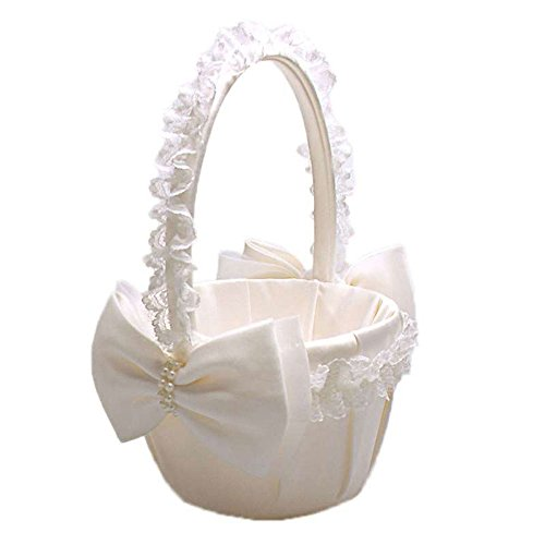 Wood Bury WoodBury Wedding Flower Girl Basket Decor Satin Lace Pearls Ivory