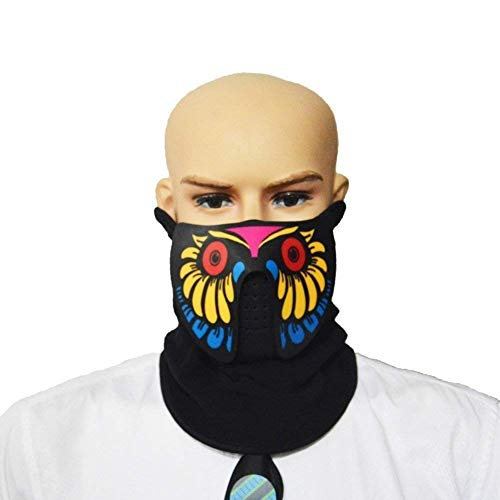 LED Music Mask, Unisex Flashing Music Control LED Party Costume Mask For Night Riding, Music Festival or Halloween Party (Bird) for $<!--$7.00-->