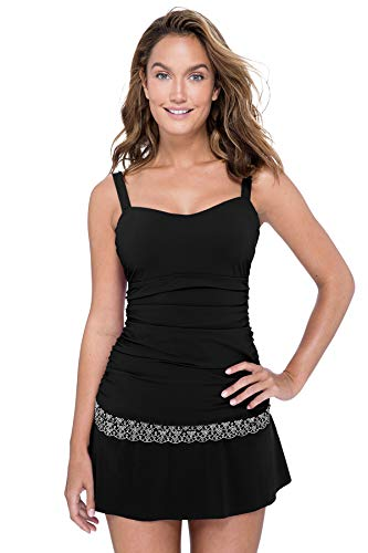 Profile by Gottex Women's Sweetheart Cup Sized Tankini Top Swimsuit, Love'n Lace Black, 36D (Sweetheart Underwire)