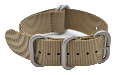ArtStyle Watch Band with Colorful Nylon Material Strap and Heavy Duty Brushed Buckle (Khaki, 20mm)