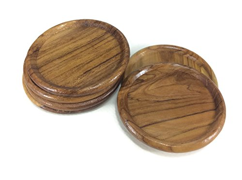 Coasters Wood Circle Saucers Drink Handmade Teak Wood Holders Dispensers Cup Holder 6 Pieces