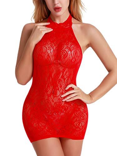 FasiCat Women Sexy Babydoll Lingerie Lace Chemise Halter Nightwear Teddy -
