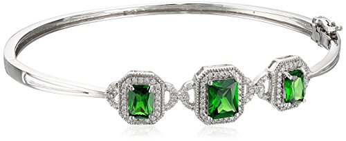 Sterling Silver Octagon Green Cubic Zirconia With Round Swarovski Zirconia Fashion Bangle Bracelet - Octagon Bangle