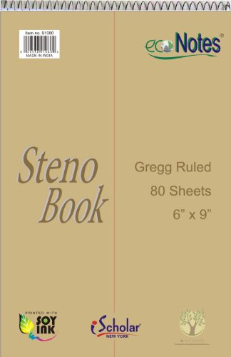 Khaki Tint - iScholar ecoNotes Spiral Steno Book, 80 Sheets, Gregg Ruled, Recycled Green Tint Eye-Ease Paper, 6 x 9-Inches, Khaki Cover (91080)