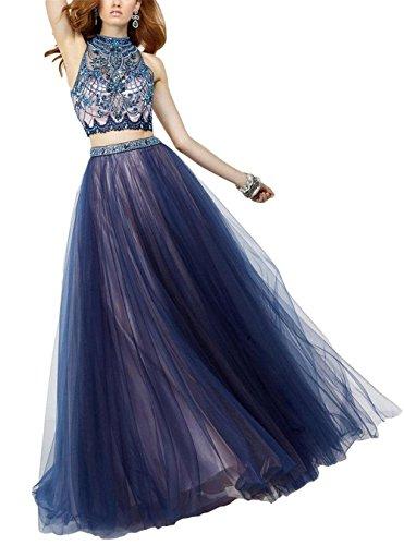 Engerla - Vestido - trapecio - Floral - Cuello redondo - Sin mangas - para mujer Navy Blue+Pink