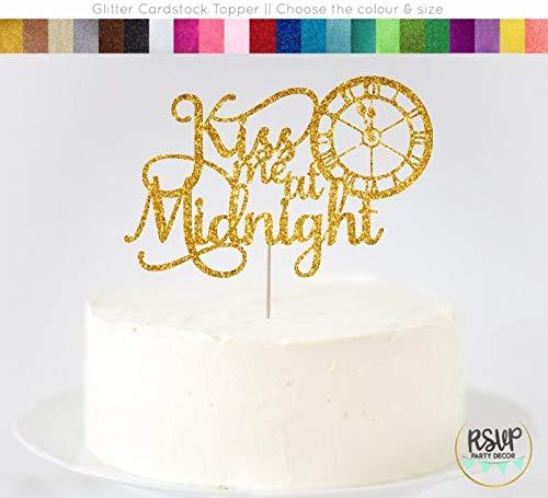 Arthuryerkes Kiss Me at Midnight Cake Topper New Years Wedding Cake Topper New Years Eve Wedding Decor Elegant Wedding Cake Topper Nye Wedding