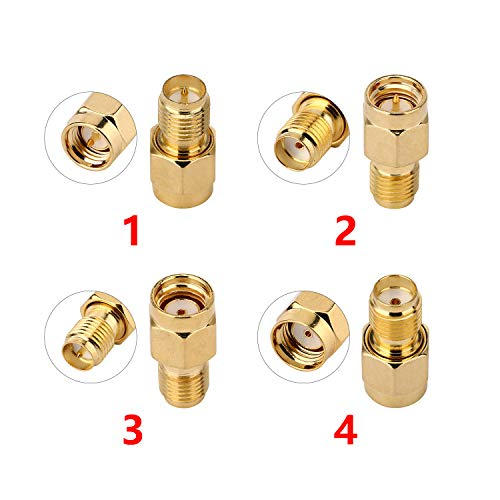 JX 4pcs/Set SMA to SMA Adapter RF Coaxial Adapter Male Female RP-SMA Coax Connector