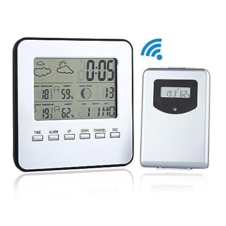 Estación meteorológica Discoball, calendario termómetro calendario, reloj digital con hora y fecha inalámbrico, marca la humedad, la temperatura, ...