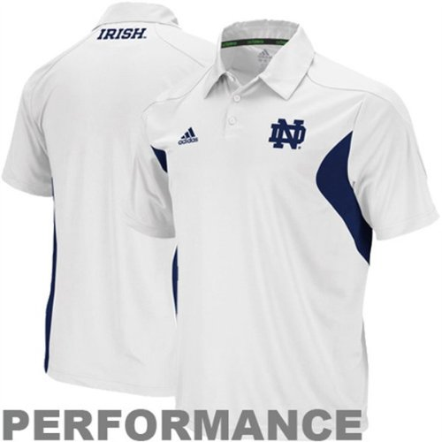 Notre Dame Fighting Irish White Adidas Sideline Performance Polo Shirt Adult Size Small (Adidas Polo Shirt Sideline)
