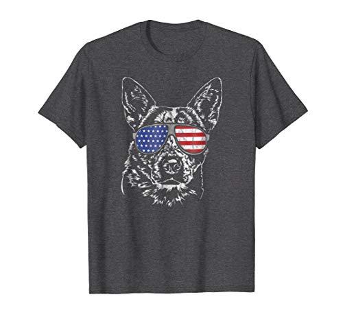 Mens Funny Proud Australian Cattle Dog America Flag T-Shirt tee XL Dark Heather