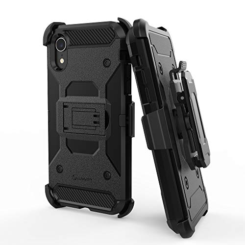 Luvvitt iPhone XR Case and Holster Heavy Duty Armor Shockproof Rugged Protection Cover with Swivel Rotating Belt Clip and Kickstand for Apple iPhone XR (2018) 10R 6.1 inch Screen - Black