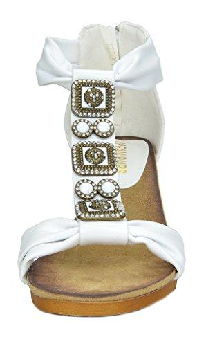 DREAM PAIRS Mulan Womens Gladiator Adjustable Buckles Straps Low Wedge Back Zipper Summer Sandals Aztek-white 7Tmw7bHGEN