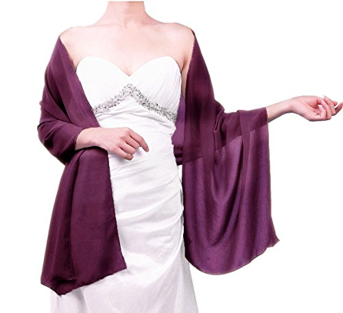 Sheer Soft Chiffon Bridal Women's Shawl For Special Occasions Grape Purple 79