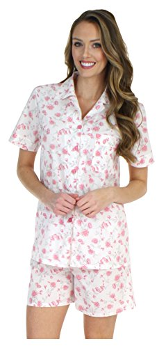 Pink Floral Pajama Shorts - Sleepyheads Women's Lightweight Cotton Short Sleeve Button-up Top and Shorts Pajama Set (STCP376SPR-MED)