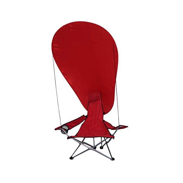 takestop® Sedia Sdraio Pieghevole Mare Campeggio Poltrona con Parasole Tenda OMBREGGIANTE Struttura Alluminio Rosso per… 1 spesavip