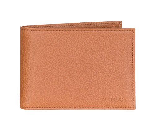 Gucci Tan Brown Pebbled Leather Embossed Logo Bi Fold Wallet