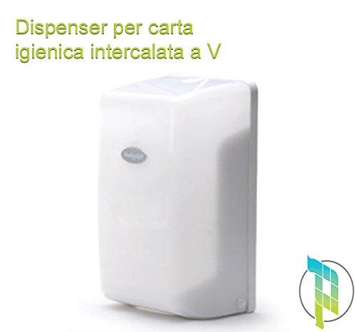 Palucart Dispenser Carta igienica compatibili Design Moderno Bianco Trasparente Accessori Bagno 01110