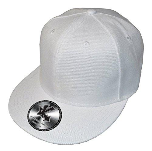 Plain White Flat Peak Snapback Baseball - In Ny Stores Plains White