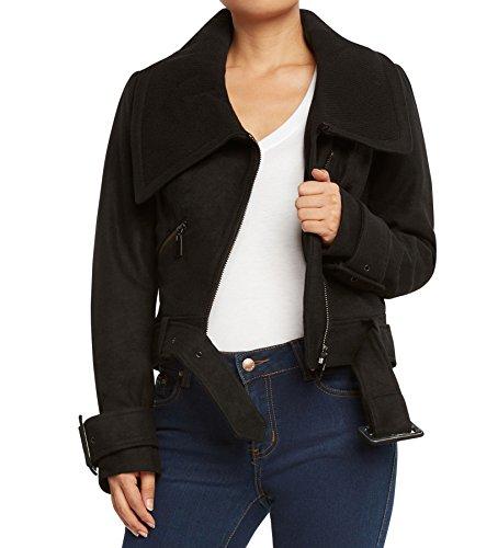 Runway New York Women's Wool Blend Crop Moto Jacket-Black-Medium (Crop Moto Jacket)