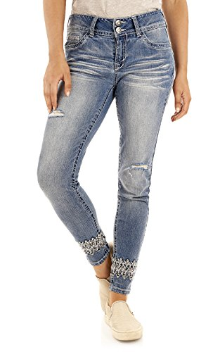 Skinny Jeans Embellished - WallFlower Women's Juniors Luscious Curvy Bling Skinny Jeans in JoJo, 0