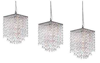 Set of 3 Modern Contemporary Crystal Pendant Chandelier Lighting H 9 X W 6