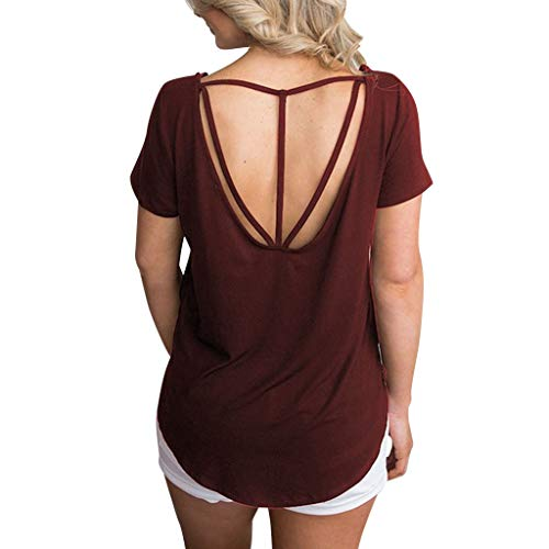〓COOlCCI〓Womens Sexy Short Sleeve Criss Cross Open Back Shirt Hollow Out Loose Tops T Shirts with Strappy Back Blouses Wine