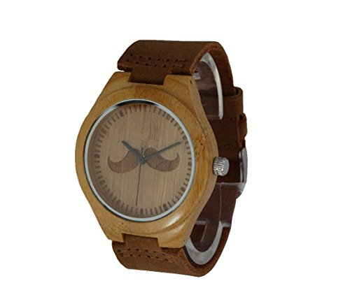 Bamboo Wood Quartz Wristwatches Leather Band Moustache Pattern Dial men dress watch with gift box