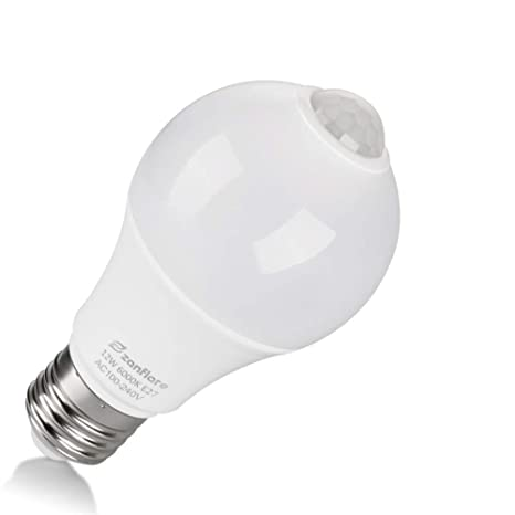 zanflare Sensor de movimiento luz bombilla, 12 W E27 Smart bombilla LED PIR Auto On